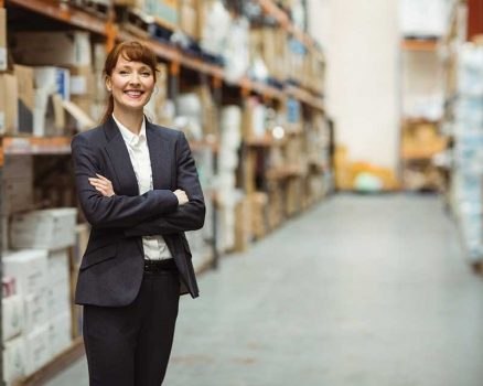 woman standing in warehouse